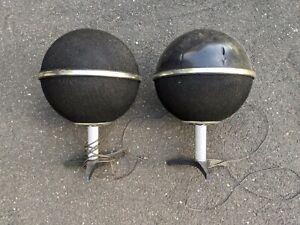 Vintage pair of Globe round ball Speakers 1970's ~read~