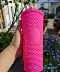 IN Stock Starbucks 2021 China 24oz Barbie pink Matte Studded Tumbler Straw Cup