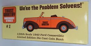 Ford Convertible 1940 Trustworthy Hardware Die Cast Coin Bank 1:25 Scale 1995