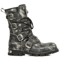 NEWROCK New Rock 1473-S47 Black Rub off Real Leather Biker Goth Rock Boots