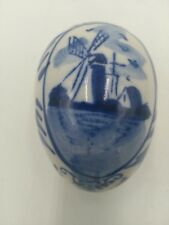 Vintage  DELFT Hand Painted EGG Trinket Box