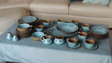 1968 Ceramic Dinnerware 46 pc Set Azura by Taylor Smith Blue Floral Pattern