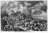 BATTLE OF BUNKER HILL 1858 ANTIQUE ENGRAVING REVOLUTIONARY WAR HISTORY FLAGS