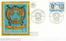 1977 - FDC SOIE 1°JOUR - JOURNEE DU TIMBRE - ENSEIGNE  DE RELAIS -TIMBRE Yt.1927