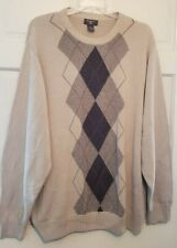 Mens Sweater Dockers Tan Front Argyle Pattern Thick Cotton Big Tall Man NWT 3XL