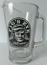 Vintage Pig's Eye Pilsner Beer Heavy Glass Restaurant Bar Pitcher