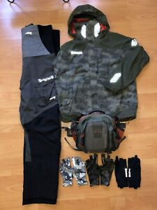 simms bib PRO DRY storm suit jacket XL gloves bag lot bass fishing bass boat