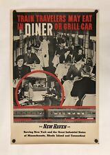 Original Vintage Poster NEW HAVEN RAILROAD - DINER OR GRILL CAR Railway Travel