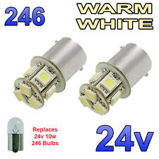 2 x Warm White 24v LED BA15s 246 R10W 8 SMD Side Plate Interior Bulbs HGV Truck