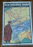 Vintage Berne Loetschberg Simplon Train tunnel Swiss Italy map travel poster