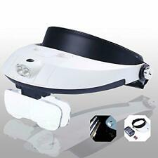 LED Headband Magnifier Hands Free Magnifying Glass Head Lamp 2 Lights 6 Lenses