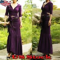 Women Vintage Dress Suits Pleated V-Neck Cropped + Maxi Skirt Party Evenings US