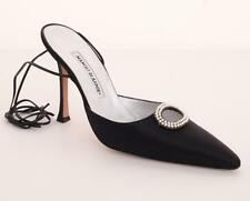 MANOLO BLAHNIK Black Satin High Heel Jeweled Pearl Strappy Pump Sandal 9.5-39.5