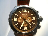Fossil men's chronograph brown leather band Analog quartz dress watch.Ch-2666
