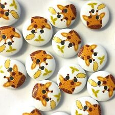 10 x painted white wood 15mm buttons with cute giraffe design, childrens knits,