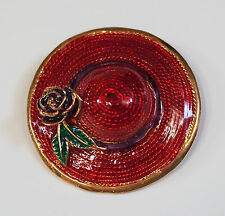 Aerial View RED HAT SOCIETY SUN HAT Red Straw Texture Purple Flower Brooch Pin