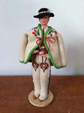 "Vtg SPOLDZIELNIA PRACY RLIA Handmade 8"" Male Polish Doll w/ Stand Poland Ethnic"