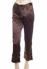 New Satin Capri 3/4 Length Trousers Brown Size 10 (40)