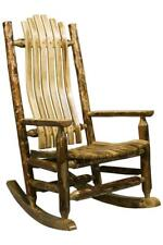 Wood Rocking Chair Amish Made Porch Rockers Log Cabin Furniture Deck Chairs