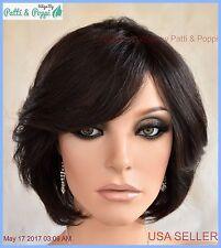 Premium Human Hair Layered Bob Style Wig Color 1B Cute Sassy USA Seller 369