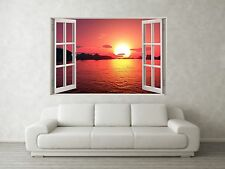 Sunset Scene 3D Full Colour Window Home Wall Art Stickers Mural Decal