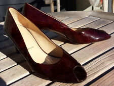 """brown patent leather Amalfi peep-toe shoes 9M made in Italy worn once 3"""" heels"""