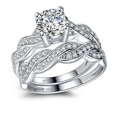 Engagement Bridal Ring Band Set Solid Sterling Silver Infinity Women's Wedding