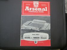 Arsenal V Rangers Friendly     1958/9
