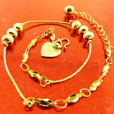 Gold Antique Bead Heart Charm Bracelet Anklet New listing Fsa522 Genuine Real 18K Yellow G/F