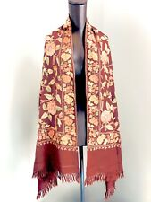 ABC Carpet & Home Vajra Oversized Scarf Wrap Shawl Floral Embroidered Wool Ochre