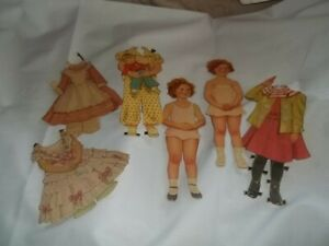 Vintage Shirley Temple Paper Dolls, Cut 1930's, 2 Dolls 8 Outfits
