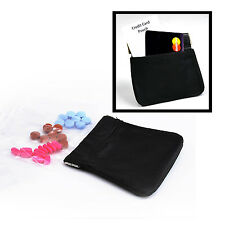 Leather Pocket Pill Pack & Card Black w 10 pill bags SOFT! or coin purse