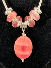 """Rhodochrosite Pendant & Bead Set W/Choice of 16"""" 18"""" or 24"""" Dione Necklace 179"""
