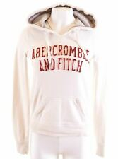 ABERCROMBIE & FITCH Womens Hoodie Jumper Size 10 Small White Cotton  MG89