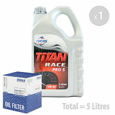 Engine Oil and Filter Service Kit 5 LITRES Fuchs Titan Race Pro S 5W-40 5L