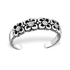 Flower Crystal Sterling Silver Cut Out Toe Ring