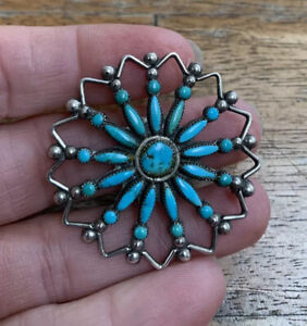 Vintage, Large, Solid Sterling Silver, Zuni Indian, Petit Point Brooch Pin.