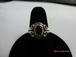 JAMES AVERY retired 14K Gold  & Sterling Silver DOUBLE SCROLL AMETHYST ring Sz 5