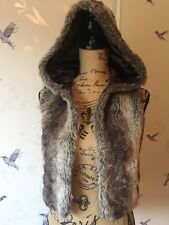 Influence Faux Fur Hooded Gilet Size 8