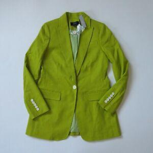 NWT J.Crew Long Parke Blazer in Chartreuse Stretch Linen Single Button Jacket 0