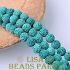 20pcs 10mm Round Lava Stone Natural Gemstone Loose Spacer Beads Lake Blue