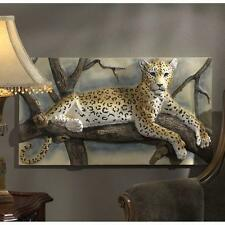 African Sahara Wildlife Serengeti High Relief Leopard Pose Wall Sculpture Frieze