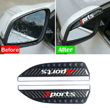 2x Car Sides Rear View Mirror Rain Board Eyebrow Guard Sun Visor Carbon Fiber