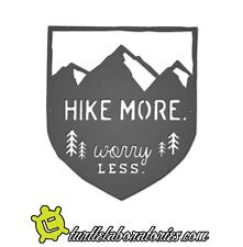 Hike More Worry Less Mountain Metal Wall Art Hanging Home Decor