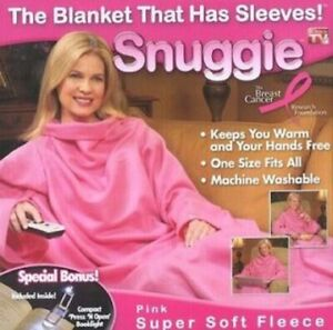 SNUGGIE PINK w/ BOOKLIGHT NEW* Original TV Blanket + Sleeves fleece Adult 1-Size