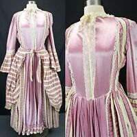 18th Century Colonial Revolutionary War ReEnactment Theater Dress Pink Stripe M