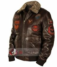 Top Gun Men Fighter Jet Pilot Winter Fur Lambskin Flight/Bomber Leather Jacket