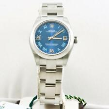 Unused Rolex 31mm Steel Oyster Perpetual No Date Watch 177200 Azzuro Blue Dial