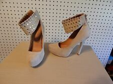 Womens gladiator Shoe Dazzle platform heels  - size 6 - Sakina - neutral color