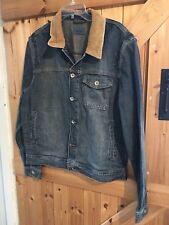 Denim Jacket / Coat Size L Chest 41-43 Blue Denim Jacket With Brown Collar